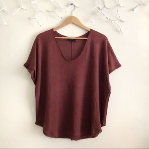 UO Out From Under brown waffle knit top